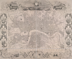 The railway bell and Illustrated London Advertiser. Map of London 1845